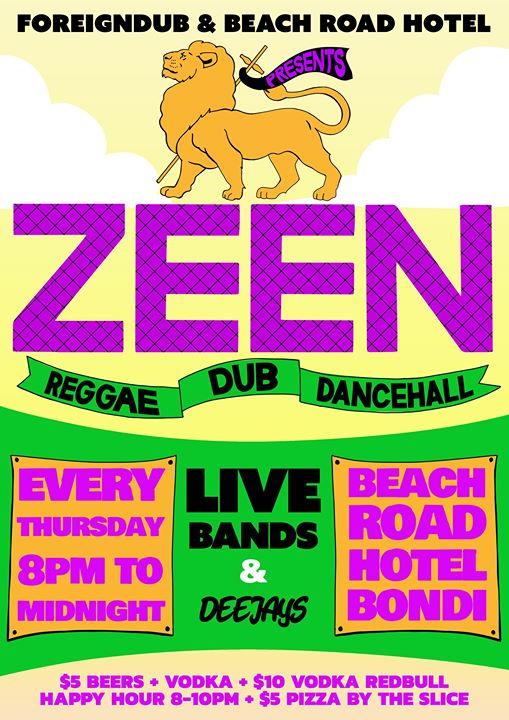 Zeen – Free Reggae bands every Thursday in Bondi -Launch